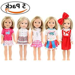 TWBB 5 Pack Wellie Wishers Clothes 14 inch American Girl Dol