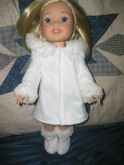 Wellie Wishers handmade doll clothes/hooded white coat/boots