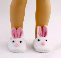 """White bunny Slippers Fits Wellie Wishers 14.5"""" American Girl"""
