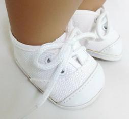 White Canvas Tennis Shoes for 15 inch Bitty Baby & Twin Doll