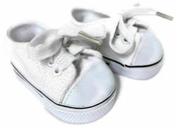 White Canvas Tennis Shoes Sneakers Doll Clothes for 18 inch