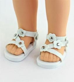 """White Flower Sandals Fits Wellie Wishers 14.5"""" American Girl"""