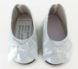 White Shiny Dress Shoes for 14.5 inch American Girl Wellie W