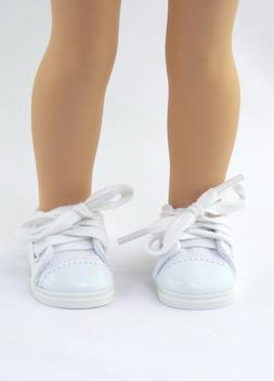 """White Sneakers Fits Wellie Wishers 14.5"""" American Girl Cloth"""