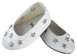 """White Star Ballet Flats Shoes for 18"""" American Girl Doll Clo"""