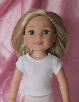 White T-Shirt fits 14inch American Girl Wellie Wishers Doll