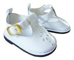 "White T-Strap Shoes for 18"" American Girl Doll Clothes"