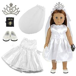 Barwa White Wedding Dress with Veil and Crown Plus Shoes and