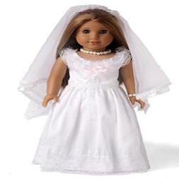 White Wedding Dress First Communion Dress Doll Clothes for 1