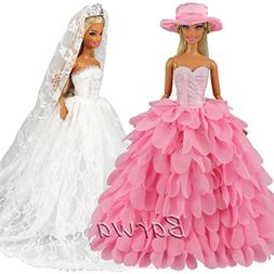 BARWA White Wedding Dress with Veil and Pink Princess Evenin