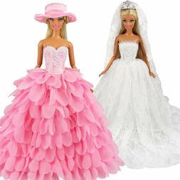 Barwa White Wedding Dress With Veil And Pink Princess Evenin