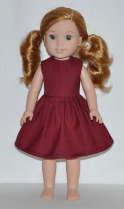 Wine Red Doll Dress Fits American Girl Wellie Wisher Doll Cl
