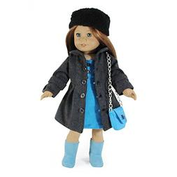 Dress Along Dolly Winter Coat and Hat Doll Outfit for Americ