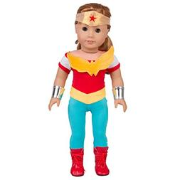 Dress Along Dolly Wonder Woman Inspired Doll Outfit - 5pcs S