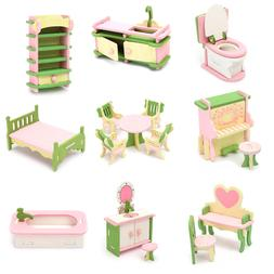 Wooden Furniture Set Doll House Miniature Room Accessories K