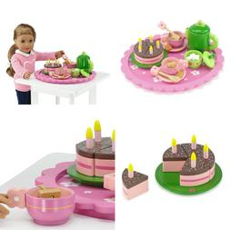 18 Inch Doll Wooden Tea Set  for Little Girls | Cake Play De