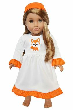 Woodland Fox Nightgown Doll Outfit Fits 18 Inch American Gir