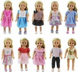 XADP 10 Sets 18 inch Doll Clothes Outfits Gift for American