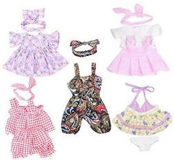 XADP 5 Pack Baby Doll Clothes Outfits with Hair Bands for 12