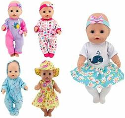 XADP 5 Pack Doll Clothes With Hat And Hair Bands For 17 Inch