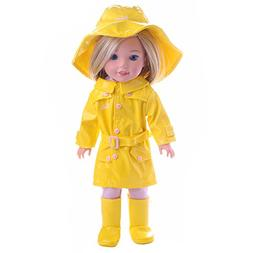 ZWSISU 3PCS yellow Raincoat set+hat+shoes Clothes set for 14