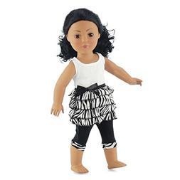 18 Inch Doll Clothes Zebra Ruffled Shirt & Capri Leggings |