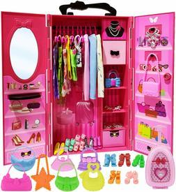 ZITA ELEMENT Doll Closet Wardrobe for 11.5 Inch Girl Doll Cl