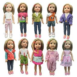 ZWSISU Children gift 5 sets Outfits doll Clothes Fit 14inch